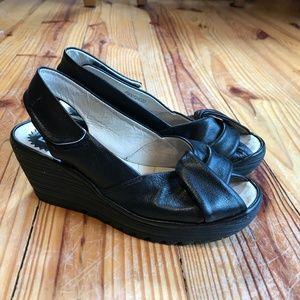 Fly London Yata Black Wedge Slingback Sandal